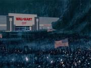 This 'Black Friday' meme shows an ominous depiction of a massive Walmart retail shop being thronged by possibly hundreds of thousands of would-be-shoppers waiting outside with American flags