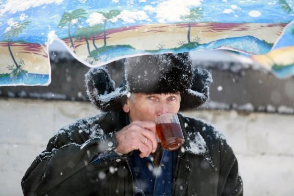 Russian having a cup of tea