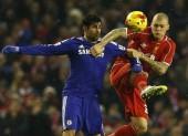 Diego Costa Chelsea Martin Skrtel Liverpool