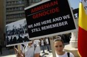 This year marks the 100th anniversary of the Armenian genocide. Above, members of an Armenian community in Romania hold banners in downtown Bucharest April 24, 2012, during a rally observing the anniversary of the beginning of the mass killings of Armenia