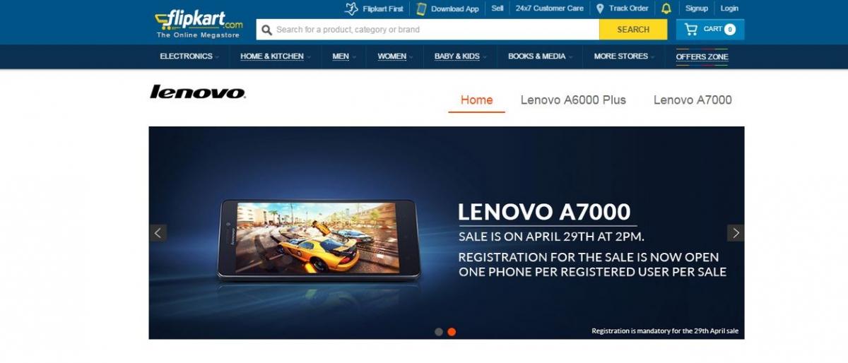 Lenovo A7000 Flipkart Flash Sale 30 To Start On 29 April