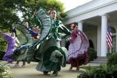 Dancers from Ballet Folklorico Mexicano de Georgetown perform at a Cinco de Mayo reception at the White House in Washington