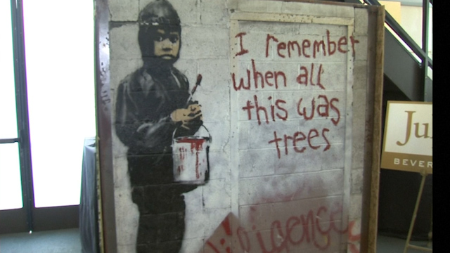 Huge detroit and bethlehem banksy murals to be sold in for Banksy mural sold