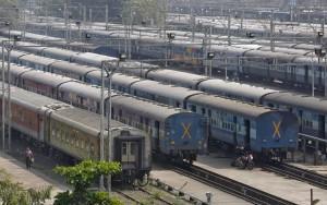 Indian Railways parked trains