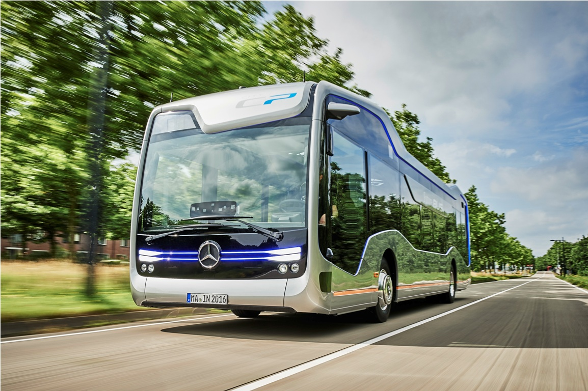 Mercedes benz shows off future bus with autonomous for Mercedes benz autonomous driving