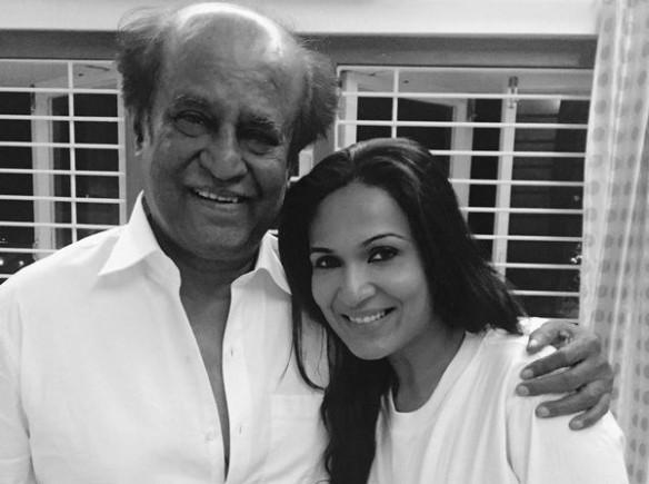 Soundarya with her father and superstar Rajinikanth