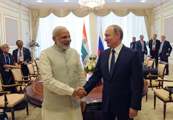 Indian Prime Minister Narendra Modi and Russian President Vlamir Putin