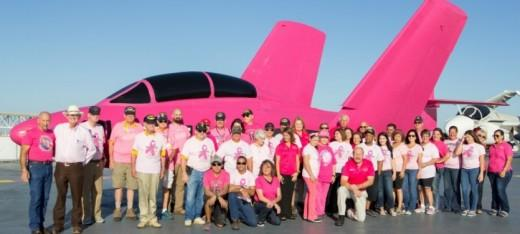 F9F-8 Cougar painted pink to support breast cancer awareness