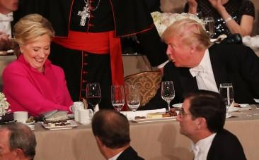 Donald Trump and Hillary Clinton trade jokes and insults at charity event