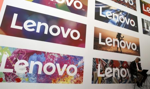Lenovo's logos during the Mobile World Congress in Barcelona