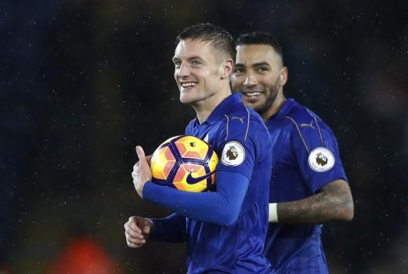 Jamie Vardy with the match ball after his much deserved hat-trick against Manchester City.