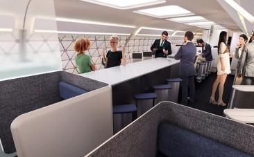 Flight of fancy: Airbus planes of the future could have gyms, childrens playrooms and coffee bars
