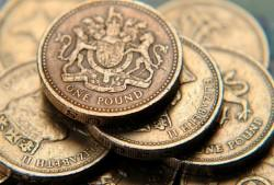 One pound, UK currency, coins, pound, brexit