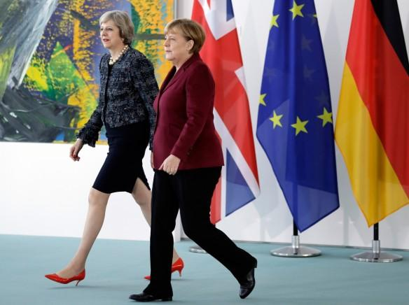German Chancellor Angela Merkel, Britain's Prime Minister Theresa May