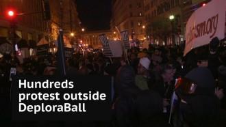 Hundreds protest outside alt-right DeploraBall event in Washington DC