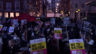 Protesters gather outside US embassy in London in anti-Trump protest