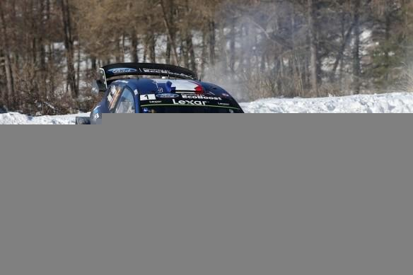 Sebastien Ogier driving his Ford Fiesta World Rally Car