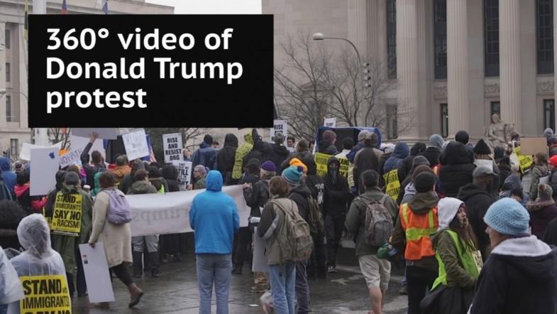 Donald Trump inauguration protest - 360° video