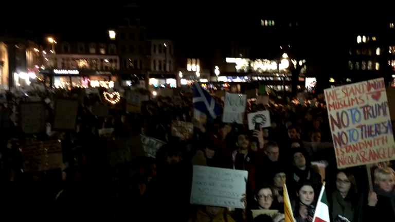 Protests erupt across the UK following Donald Trump travel ban