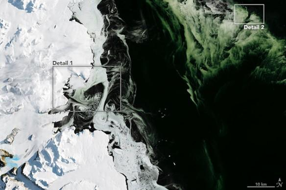 nasa, antarctica, space, environment, green ice, mystery,