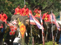 Elephants join huge water fight ahead of Thai New Year