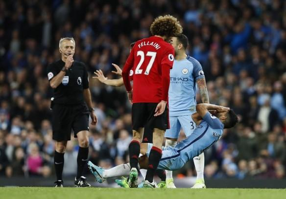 Marouane Fellaini, Manchester United, Sergio Aguero, Manchester City, Martin Atkinson