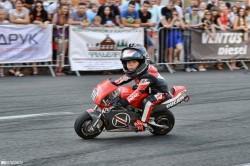 4-year-old Tima Kuleshov riding motorcycle