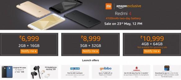 Amazon India, promotional offers, Redmi 4, Xiaomi,