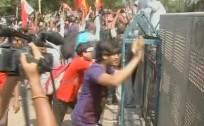 Left protesters clash with the police during 'Nabanno Abhijan'
