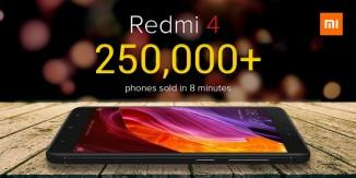 Xiaomi Redmi 4 sold out in just 8 minutes