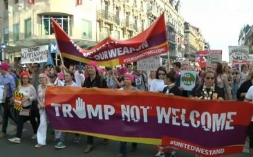 Thousands march to protest Donald Trumps arrival in Brussels
