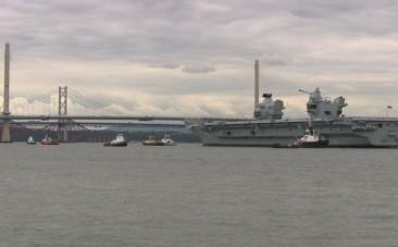 HMS Queen Elizabeth aircraft carrier leaves port for first time