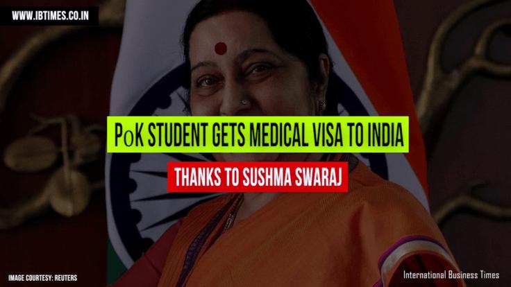 Sushma Swaraj calls PoK integral part of India and grants medical visa to ailing student