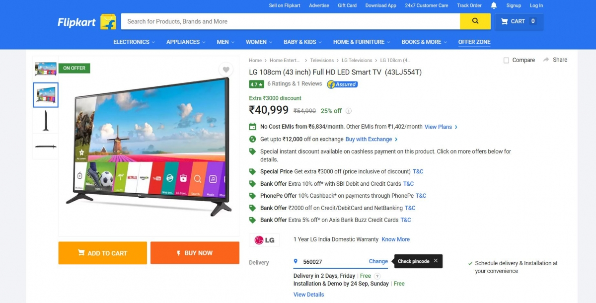 flipkart big billion days sale 2017 best deals on smart led tvs ibtimes india. Black Bedroom Furniture Sets. Home Design Ideas