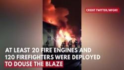 Fire erupts at warehouse near football ground of Tottenham Hotspur