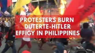 Protesters burn Duterte-Hitler effigy in Philippines