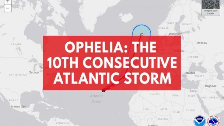 Hurricane Ophelia becomes record-tying 10th straight Atlantic storm
