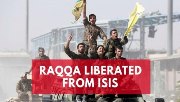 US-backed Syrian Democratic Forces celebrate eradicating Isis from Raqqa