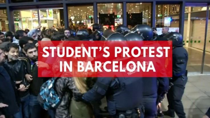 Students storm train station in Barcelona