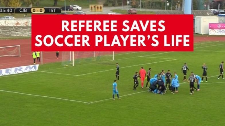 Referee saves football players life