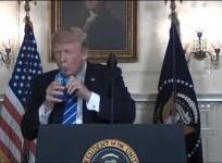 President Trump drinks water during Asia trip recap