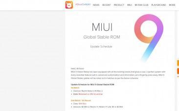 Xiaomi, MIUI 9, global ROM, Redmi 4, Mi Max, Mi Max 2, Android Nougat, update