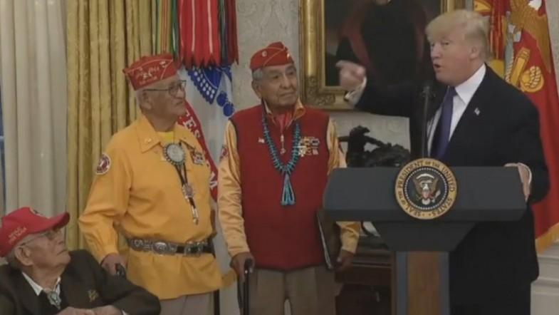 President Trump makes Pocahontas reference to Senator Elizabeth Warren with native American code talkers