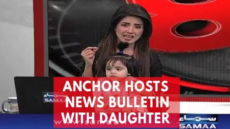 TV anchor presents news with daughter on her lap to protest 8-year-olds rape and murder