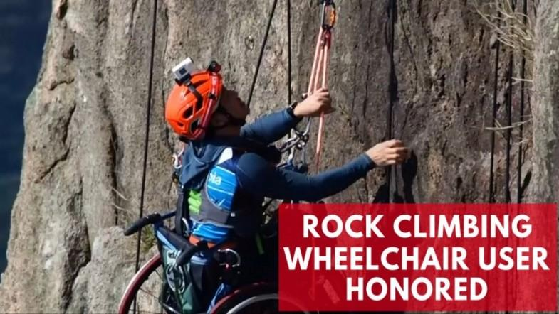 Rock climbing wheelchair user nominated for award after mountain ascent