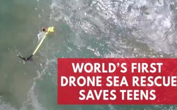 Dramatic worlds first sea drone rescue in Australia captured on camera