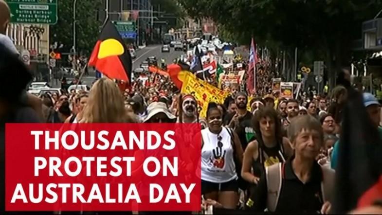 Thousands protest aboriginal mistreatment on Australia Day