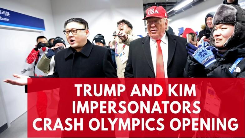 Impersonators of Kim Jong Un and Donald Trump call for peace amid the Winter Olympics