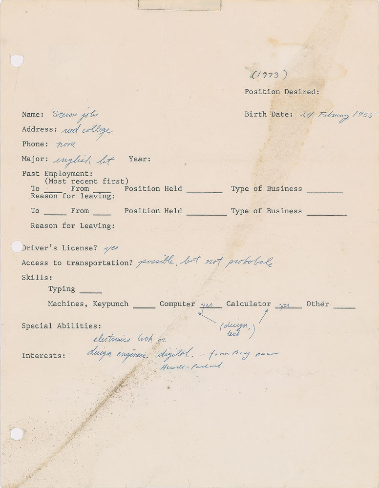 Good Would You Hire Steve Jobs By Looking At His First Job Application?    IBTimes India And Steve Jobs Resume