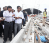 Telangana municipal administration minister KT Rama Rao inspecting Hyderabad Metro Rail works in Hyderabad